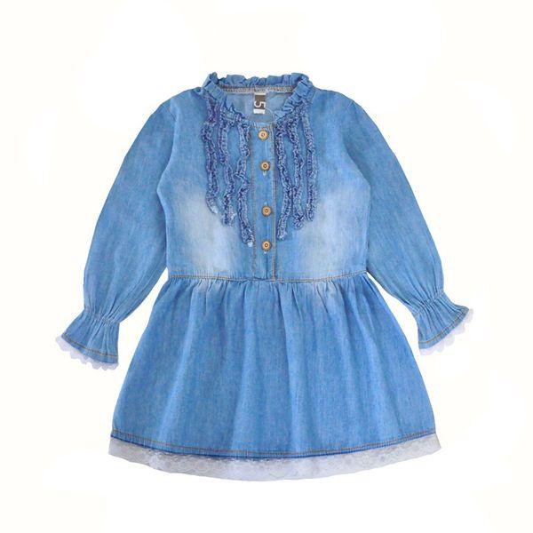 Shipping DHL Long sleeved lace Denim dresses blue girls dress 3T-5T
