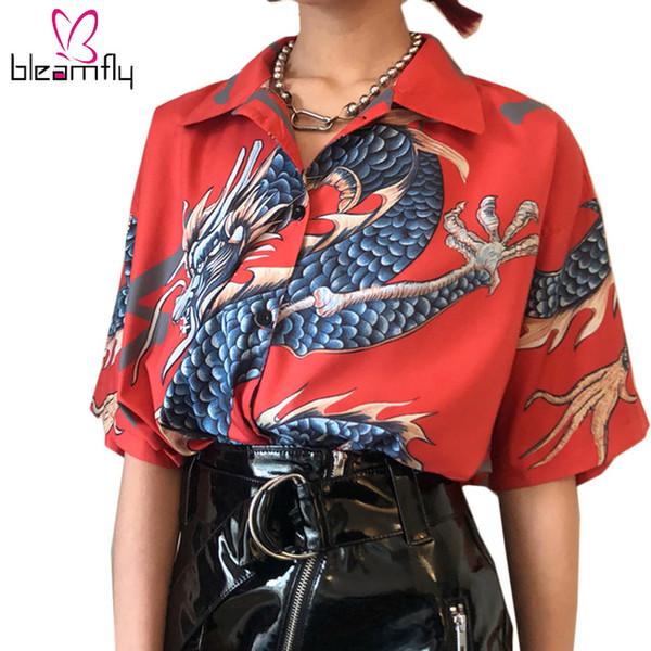 bleamfly_fashion / 2018 Harajuku Das Mulheres Tops E Blusas Dragão Impressão Boho Camisa de Manga Curta Do Vintage Verão Senhoras Blusas Femme Streetwear