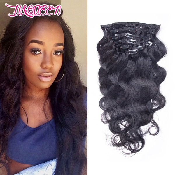 Non Processed Brazilian Body Wave Style Clip In Human Hair 10Pcs 120g Per Set 10-28inch Optional Peruvian Malaysian Indian Hair Weaves Weft