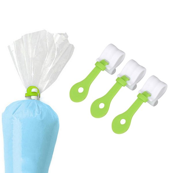 3PCs Cake Decorating Bag Clips Fondant Frosting Piping Bags Icing Cake Cupcakes Ice Piping Bag Buckles Reusable Baking Tools