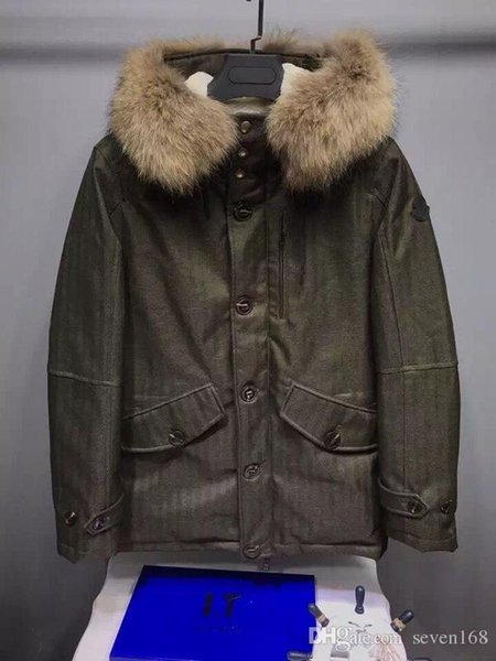 Men M Duck Down Coat Soft Warm Thickening 100% real raccoon fur collar Hooded Down Jacket Military green Parkas 2 colour