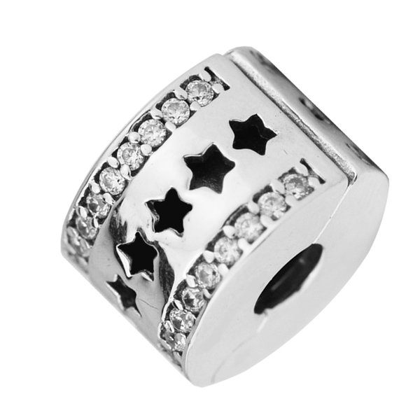 New Authentic 925 Sterling Silver Bead Starry Formation Clip With Crystal Stopper Charm Fit Original Pandora Bracelets DIY Jewelry Making