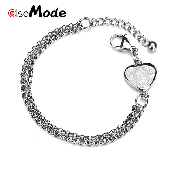 ELSEMODE Romantic Love Heart Jesus Regolabile doppio strato braccialetti di collegamento in acciaio inox per le donne gioielli religiosi
