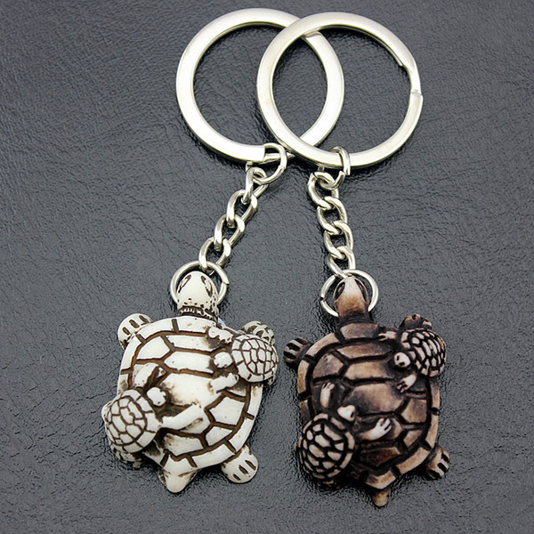Jewelry Wholesale LOT 12PCS Lovely turtles mother and child Keyrings Imitation Yak Bone tortoise Keychains Car Key Rings for men women gifts