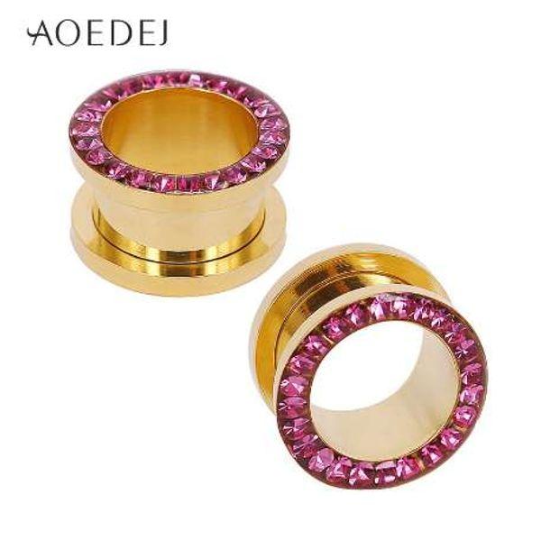 AOEDEJ 5-18mm 3 Colores Tapones y Túneles de Cristal 16mm Acero Inoxidable Túneles del Oído Expansor Piercing Orejeras Tapones Oreille
