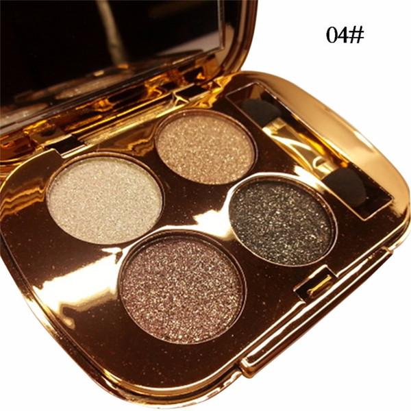 paleta de sombra nua 4 cores de brilho da paleta de ouro paleta de maquiagem de cosméticos Smoky ouro diamante brilhante Glitter Eye Shadow