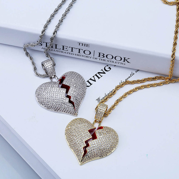 Hip Hop Iced Out Solid Broken Heart Lced Out Necklace & Pendant Micro Paved Zircon Charm Necklace for Women