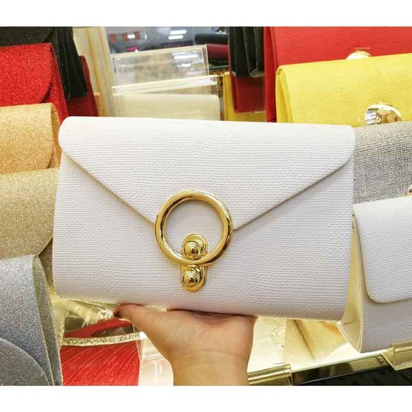 Newest White Black Leather large Clutch Envelope Bag Chain Women shoulder bag candy Messenger Soiree Purse Prom Evening Bag 8803 Y18103004