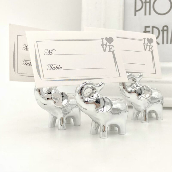 """Wedding Favors Gift """"Lucky in Love"""" Silver Lucky Elephant Place Name Photo Card Holder Party Decoration"""