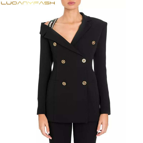 Luoanyfash Diamond Women's Jacket Black Patchwork Long Sleeve Double Breasted Slim Blazer Female Autumn 2018 Vintage Clothing