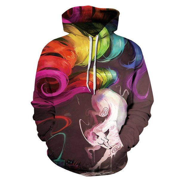 Men Women Hoodies Pullover Sweatshirts Long Sleeve 2018 Autumn Winter Brand Hooded 3D Animal Print Tracksuit Plus Size Tops Fox