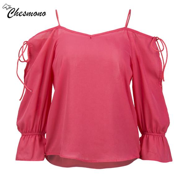 cd25f573 solid Chiffon Blouse Women Tops flare Sleeve strap off shoulder Shirt Women  Ladies Office Blouse Korean