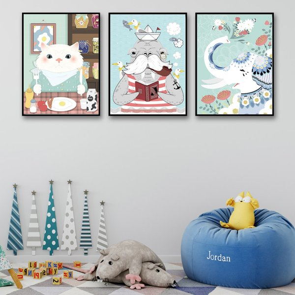 Modern Cartoon Art A4 Prints Canvas Pictures Nordic Style Animals Flowers Scenery Poster Paintings Wall Decoration For Kids Room