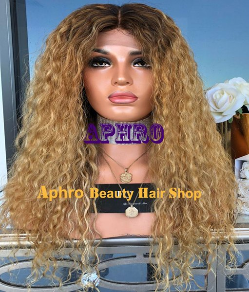Customize Kinky Curly Ombre Blonde Silk Top Full Lace Wigs With Dark Roots Middle Parting European Human Hair Silk Base Giueless Wigs