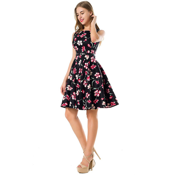 Fashion printed women's t - neck sleeveless cotton printed dress Hepburn style retro pompon women's skirt
