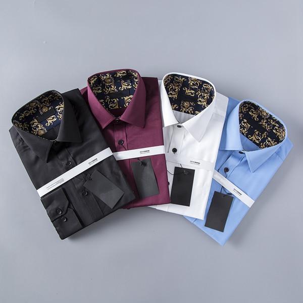 HOT marchio di affari americano sottile Stampa piccola ape, Camicie a maniche lunghe da uomo, uomini per il tempo libero su tenterhooks, camicie da uomo Medusa in bianco e nero