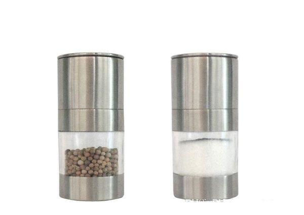 top popular Stainless Steel Manual Salt Pepper Mill Grinder Portable Kitchen Mill Muller Home Kitchen Tool Spice Sauce Grinder Pepper Mill b715 2019