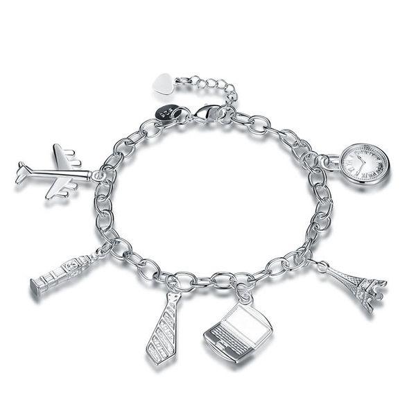 Wedding gift!Fashion hanger 6 hand chain 925 silver bracelet JSPB617;low price girl women sterling silver plated Charm Bracelets