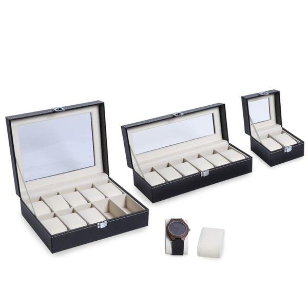 2 6 10 Grids PU Leather Watch Box Case Professional Holder Organizer for Clock Watches Jewelry Boxes Case Display