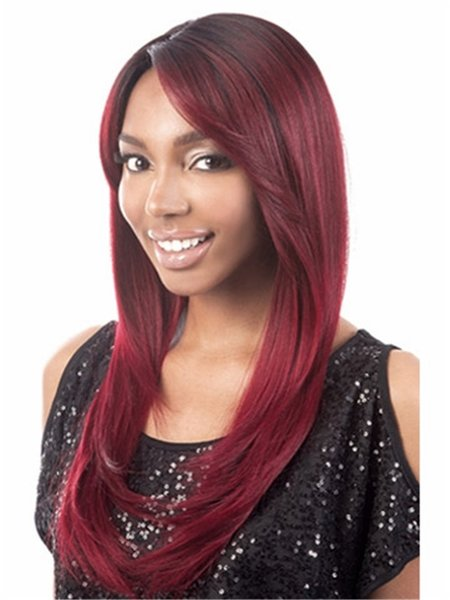 Burgundy long straight hair wig with side bang Heat resistant fiber synthetic wig capless fashion wigs free shipping