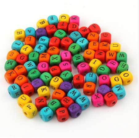 best selling 100pcs lots 9mm Wood Spacer Beads Mixed Color Letters Print Cube Wood Beads Random Mixed Beads For DIY Bracelet