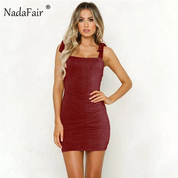 Nadafair Sexy Club Яркое шелковое платье Lace Up Strap Summer Dresses Женщины без рукавов Backless Elegant Party Mini Dress