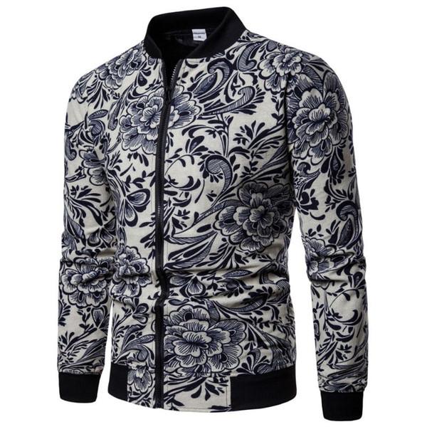 2018 Chaqueta de lino de la manera del otoño Hombres Hip Hop Flores de gran tamaño Piloto Bomber Jacket Coat Chaquetas de impresión de los hombres EUR Tamaño S-2XL