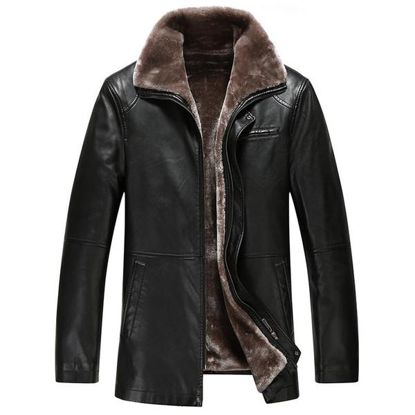 2019 2017 New Warm Lining Winter Jackets Mens Medium Long Turn Down Collar Lederjacke Herren From Hyghe, $99.07 | DHgate.Com