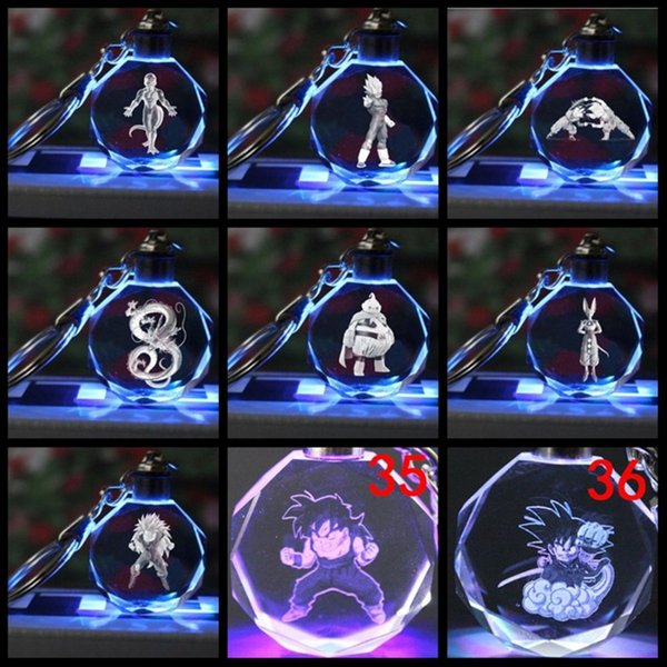 Ball Vegeta pendant key chain LED colorful glow crystal porta chaves stylish funny personality Jewelry accessories gift