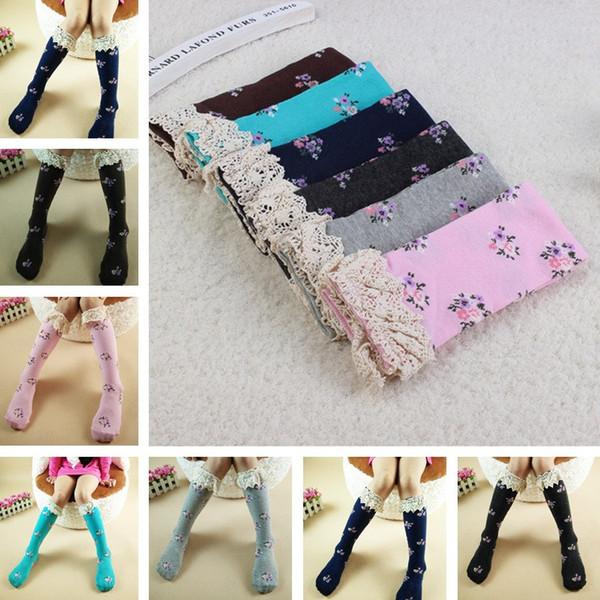 NOVAS Meninas No tubo de meias de renda Leggings meninas adoráveis rendas 42 cm Em tubo meias Leggings 6 cor T6G016