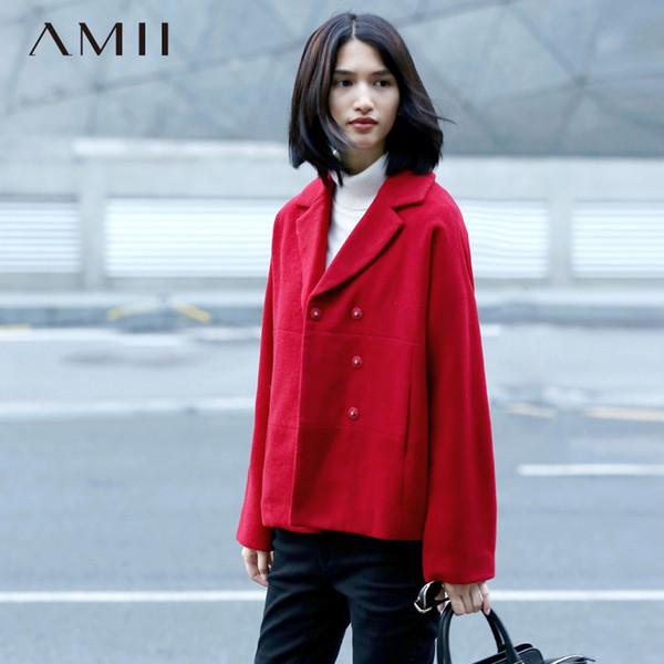 Amii Casual Minimalist Women Woolen Coat 2018 Winter Short Covered Button Turn-down Collar Female Wool Blends L18100706