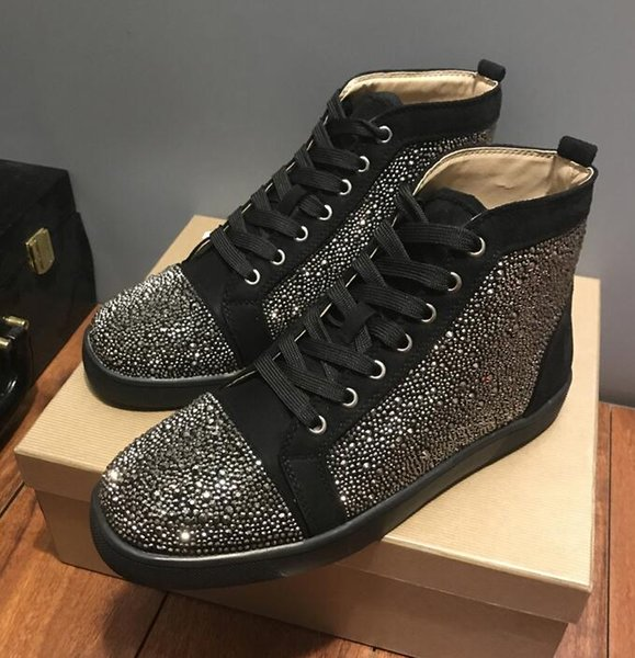 2018 new ize 35 47 pecial offer uede black rhine tone tra red bottom hoe men flat red ole hoe high neaker lace up ca ual
