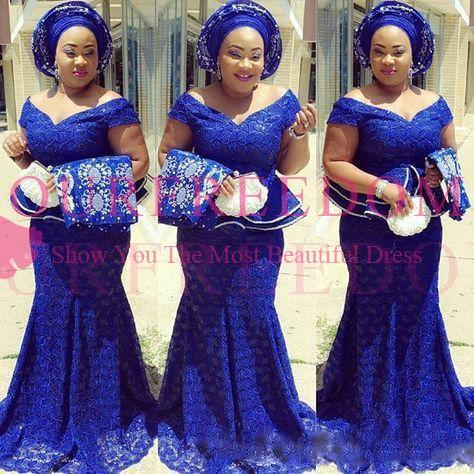 2019 Royal Blue Lace Plus Size Evening Dresses Off The Shoulder South Africa Formal Dress Long Mermaid Prom Gowns Aso Ebi Custom Made