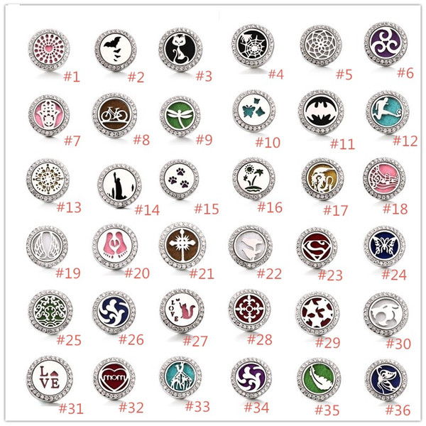 best selling Noosa Aromatherapy Perfume Locket Snap buttons Heart Essential Oil Diffuser Crystal 18mm Snap Button Jewelry For Snap Bracelet Necklace