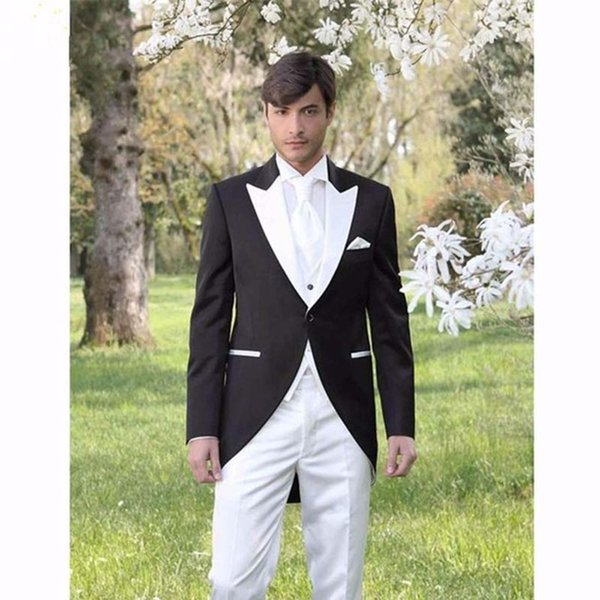 Italian Morning Style Gentleman men Suit Black And White Groom Tuxedos 3 Piece Mens Wedding Prom Suits (Jacket+Pants+Vest)