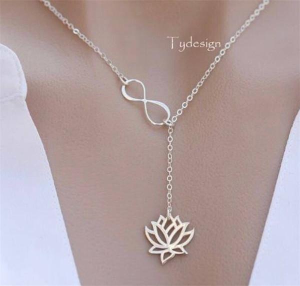 Мода Колье Ожерелье Серебро / Золото Цвет Ссылка Цепи Бесконечность Lotus Ожерелье Для Женщин Оптовая YMCJN016
