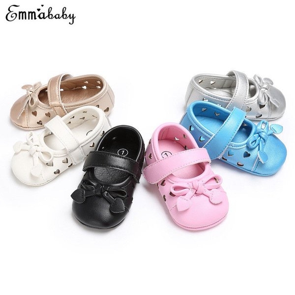 Cute Baby Kids Boys Girls Leather Shoes Round Toe Hollow Out Toddler Moccasin Soft Bowknot Crib Shoes For Girl 0-18 M