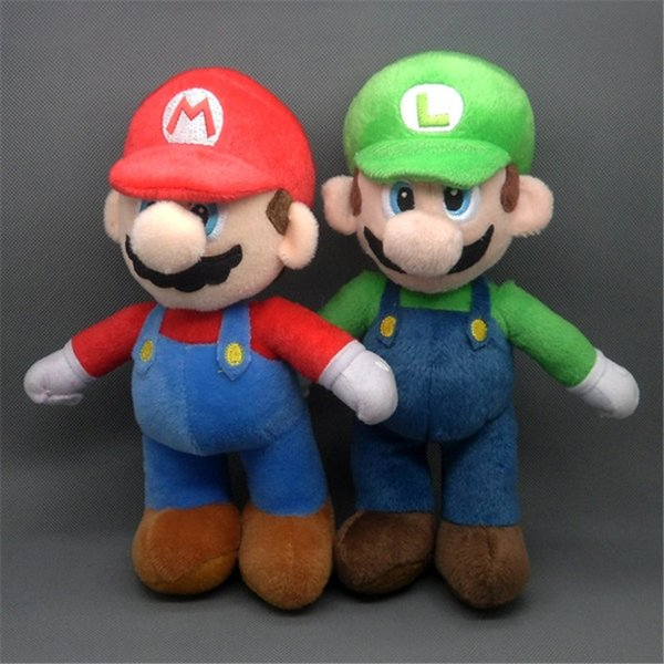 EMS Super Mario Bros Standing Mario Luigi 25CM Soft Doll Best Stuffed Gift Plush Toy