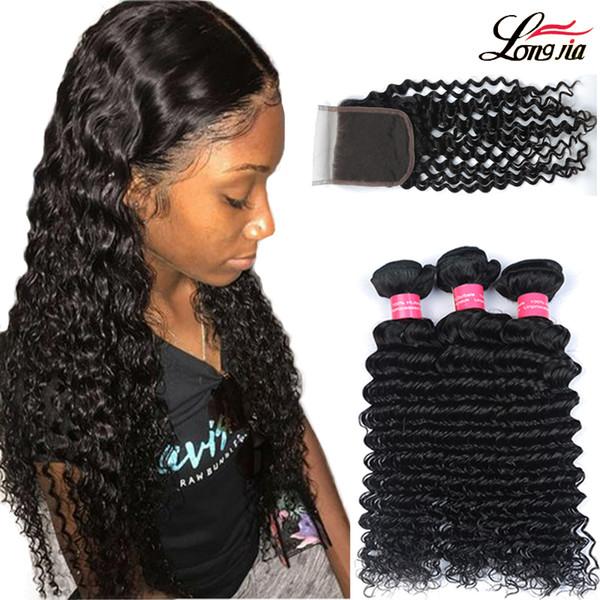 Brazilian Deep Wave With Closure Hair Bundles with 4x4Lace Closure Brazilian Virgin Human Hair With Closure Unprocessed Human Hair Extension