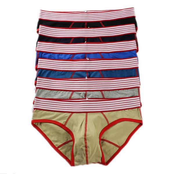 Wholesale 6pcs/lot Mens Cotton Underwear Briefs Multicolor Bulge Pouch Jockstrap Tanga Briefs Underpants Bottoms Panties