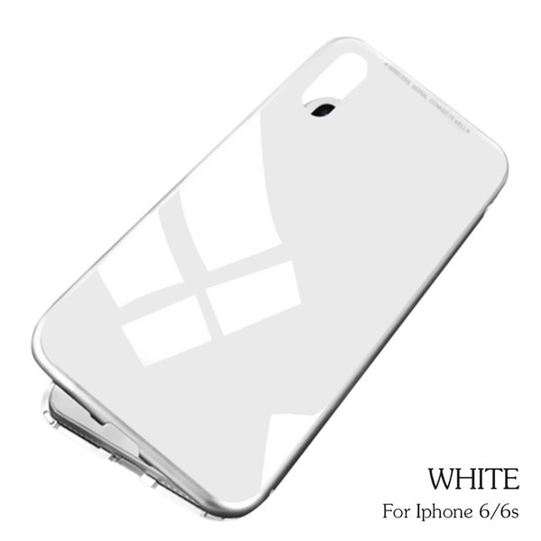 White Transparent Magneto Magnetic Adsorption Case Clear Tempered Glass For iPhone 6/6s