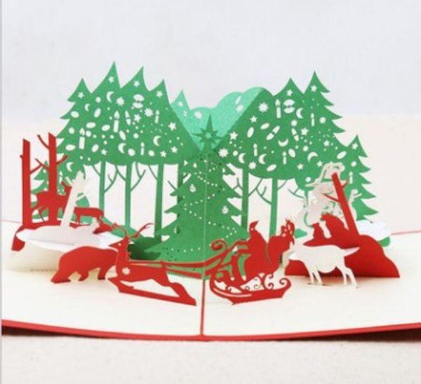 3D Kübik Noel Kartları Kağıt Heykel Noel Arifesi Mübarek Kartları Noel Ağacı