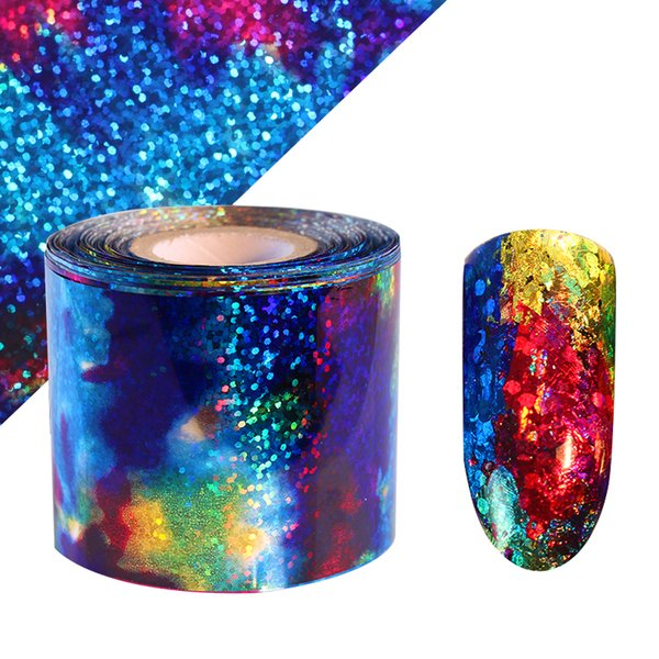 1 Roll Holographic Gradient Starry Sky Nail Foil Blue Paper 1m Decals Manicure Nail Sticker Decorations