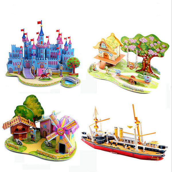 fashion Children Houses Puzzle 3D DIY Puzzle Jigsaw Baby toy Kid Early learning Castle Construction pattern gift
