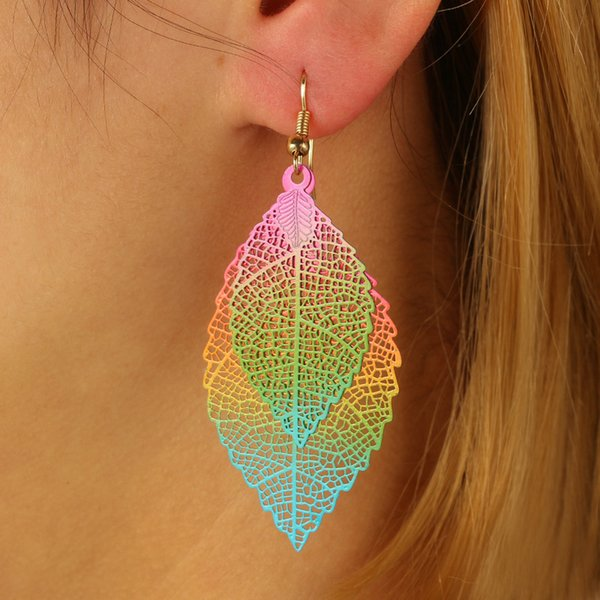 Free DHL New Double-Layer Leaf Earrings Simple Ethnic Style Color Tassels Drop Earrings Luxury Boho Jewelry For Women Christmas Gift H214F