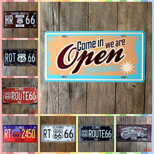 ROUTE 66 COME IN WE ARE OPEN 15*30cm Posters Home Decor Tin Signs Vintage Decor Graphic Tablet Crafts Metal Art Iron Wall Paint