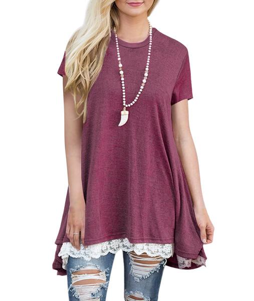 De alta qualidade das Mulheres de manga Curta O Pescoço Rendas blusa solta T-shirt Moda Casual maxi T-shirt blusa S-XL 4 cores frete grátis