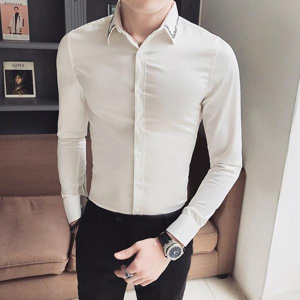 5435d89da3b690 Hot Korean Simple Tuxedo Brand New Slim Fit Casual Shirt Men Long Sleeve  Gentlemen Men Dress