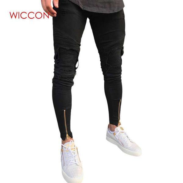 New Men Ripped holes jeans skinny biker jeans black with Pleated patchwork slim fit hip hop men pants Zipper design