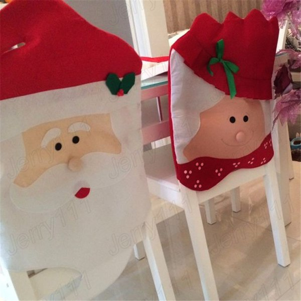 Santa Claus Dining Chair Covers Christmas Grandma Chair Cover DIY Mr&Mrs Dinner festival seat decor supplies LE105